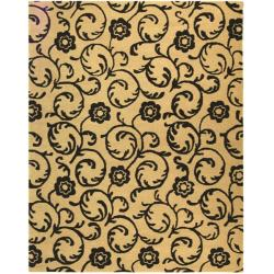 Handmade Rose Scrolls Beige New Zealand Wool Rug (7'6 x 9'6)