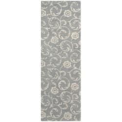 Handmade Rose Scrolls Gray New Zealand Wool Runner Rug (2'6