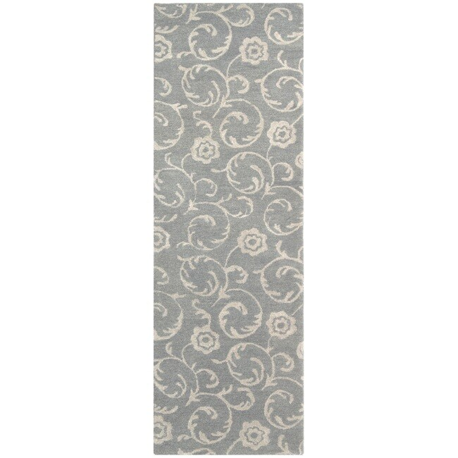 Safavieh Handmade Rose Scrolls Grey New Zealand Wool Rug (2'6 x 8')
