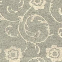 Handmade Rose Scrolls Grey New Zealand Wool Rug (3'6 x 5'6')
