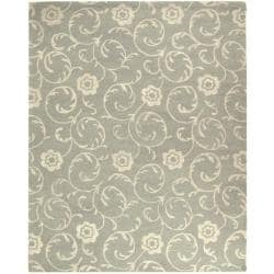 Handmade Rose Scrolls Grey New Zealand Wool Rug (8'3 x 11')