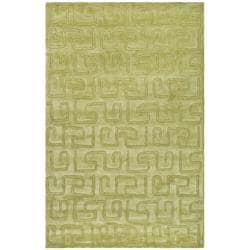 Handmade Puzzles Green New Zealand Wool Rug (8'3 x 11')