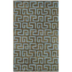 Handmade Puzzles Brown/ Blue New Zealand Wool Rug (5'x 8')