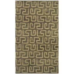 Handmade Puzzles Brown/ Gold New Zealand Wool Rug (8'3 x 11')