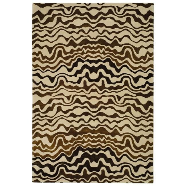 Safavieh Handmade Tribal Beige New Zealand Wool Rug (5'x 8')