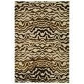 Handmade Tribal Beige New Zealand Wool Rug (5'x 8')
