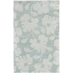 Handmade Shadows Light Blue New Zealand Wool Rug (9'6 x 13'6)