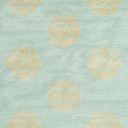 Handmade Medallion Turquoise New Zealand Wool Rug (9'6 x 13'6)