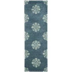 Safavieh Handmade Medallion Blue Floral New Zealand Wool Rug (2'6 x 12')