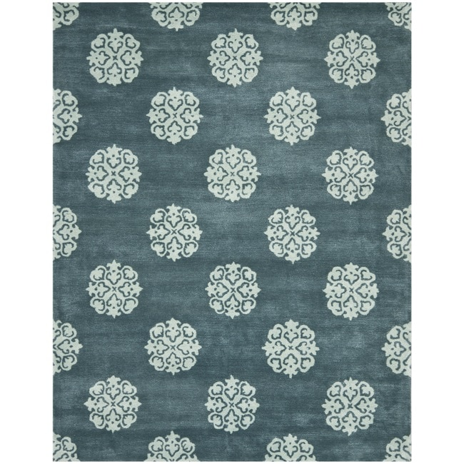 Safavieh Handmade Medallion Blue New Zealand Wool Rug (7'6 x 9'6)