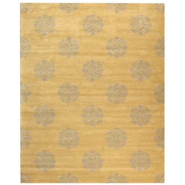 Safavieh Handmade Medallion Beige New Zealand Wool Rug (5'x 8')