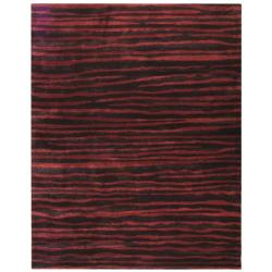 Handmade Stripes Plum New Zealand Wool Rug (8'3 x 11')