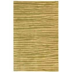 Handmade Stripes Green New Zealand Wool Rug (3'6 x 5'6')