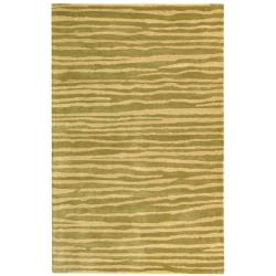 Safavieh Handmade Stripes Green New Zealand Wool Rug (7'6 x 9'6)