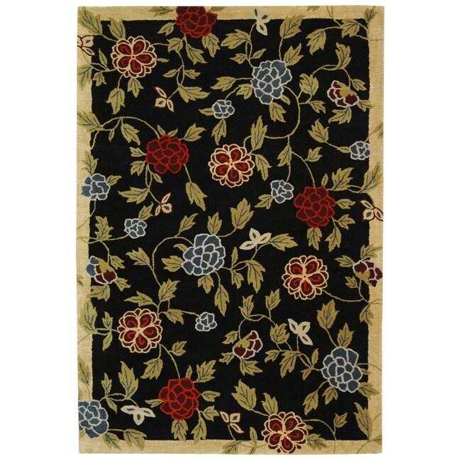 Safavieh Handmade Gardens Black New Zealand Wool Rug (7'6 x 9'6)