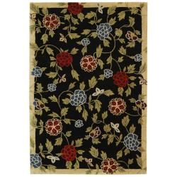 Handmade Gardens Black New Zealand Wool Rug (7'6 x 9'6)