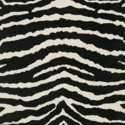 Handmade Zebra Ivory/ Black New Zealand Wool Rug (2'6 x 8')