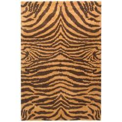 Handmade Tiger Beige/ Brown New Zealand Wool Rug (3'6 x 5'6')
