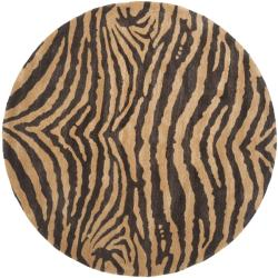 Handmade Tiger Beige/ Brown New Zealand Wool Rug (6' Round)