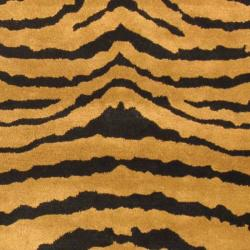 Handmade Tiger Brown/ Black New Zealand Wool Rug (7'6 x 9'6)
