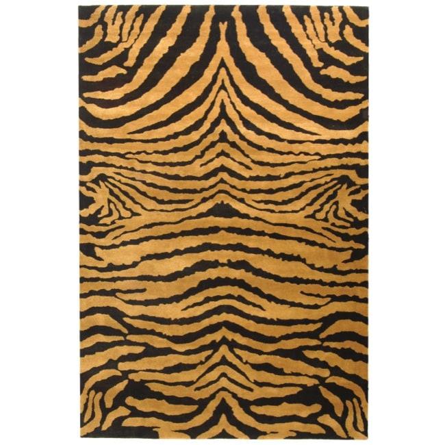 Safavieh Handmade Tiger Brown/ Black New Zealand Wool Rug (8'3 x 11')