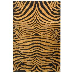 Handmade Tiger Brown/ Black New Zealand Wool Rug (8'3 x 11')