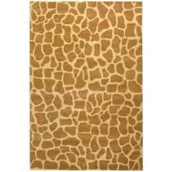 Handmade Giraffe Beige New Zealand Wool Rug (7'6 x 9'6)