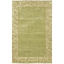 Handmade Borders Green New Zealand Wool Rug (7'6 x 9'6)
