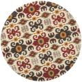 Handmade Festive Ivory New Zealand Contemporary Wool Rug (6' Round)