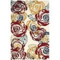 Handmade Roses Ivory New Zealand Wool Rug (3'6 x 5'6')
