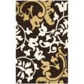 Handmade Silhouettes Brown Intricate Floral New Zealand Wool Rug (9'6 x 13'6)