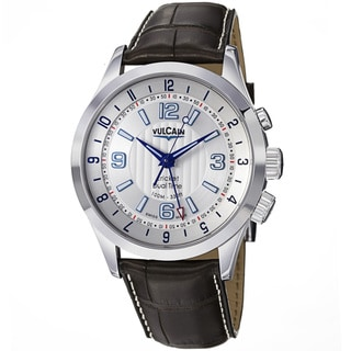 Vulcain Men's 'Aviator Dual Time' Silver Dial Brown Strap Watch