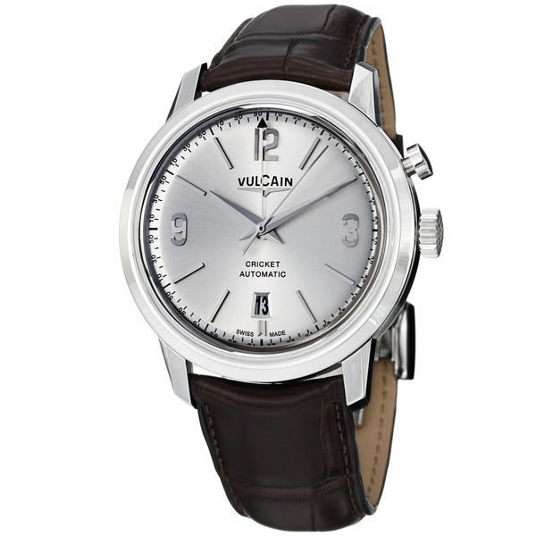 Vulcain Men's '50s President's' Silver Dial Brown Leather Strap Watch