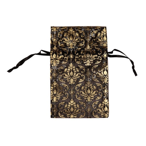 48 pcs Organza Gold Damask Jewelry Drawstring Pouches Gift Bags 2.75 x 3 inch