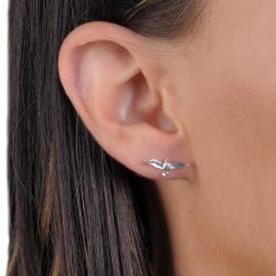 Tressa Sterling Silver Soaring Bird Stud Earrings