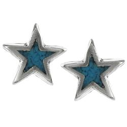 Tressa Sterling Silver Genuine Turquoise Star Stud Earrings