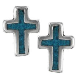 Tressa Sterling Silver Genuine Turquoise Cross Stud Earrings