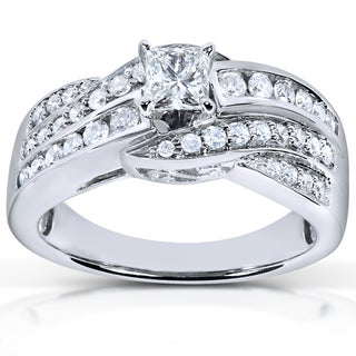 Annello 14k White Gold 7/8ct TDW Diamond Princess Engagement Ring (H-I, I1-I2)