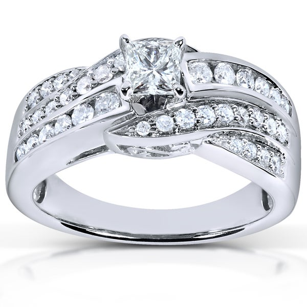 Annello 14k White Gold 7/8ct TDW Diamond Princess Engagement Ring (H-I, I1-I2)