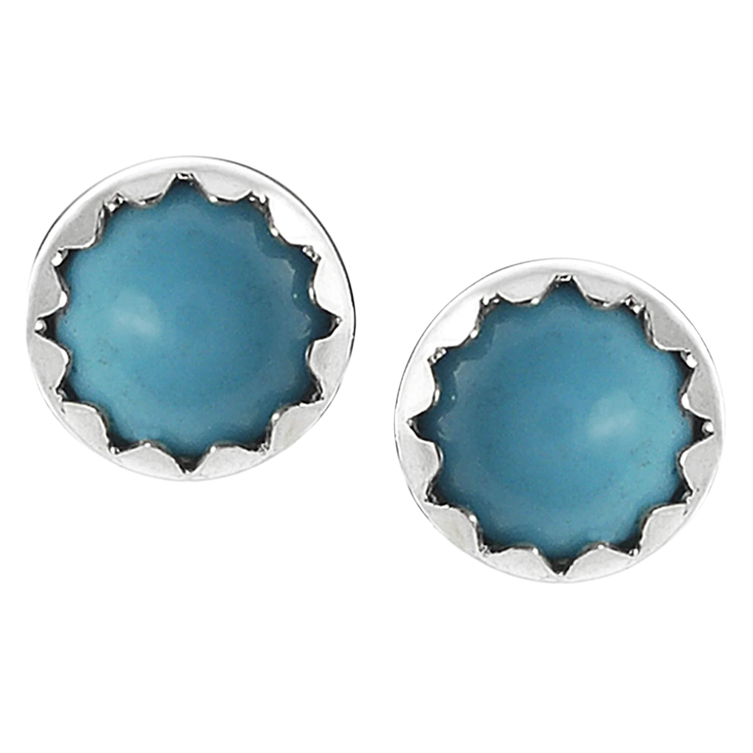 Journee Collection Sterling Silver Genuine Turquoise Stud Earrings