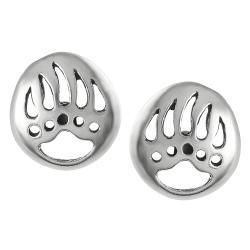 Journee Collection Silver Indian Bear Paw 'Good Omen' Symbol Stud Earrings