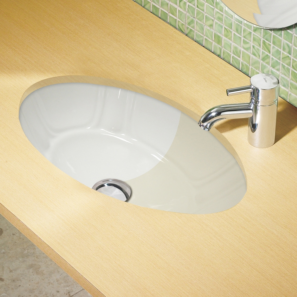 White Decorative Undermount Lavatory with Overflow