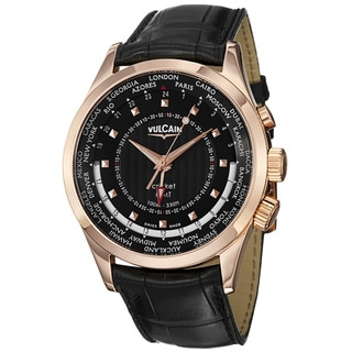 Vulcain Men's 100535.223LBK 'Aviator GMT 2009' Black GMT Dial Rose Gold Watch