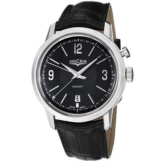 Vulcain Men's '50s President's' Black Dial Black Leather Strap Watch