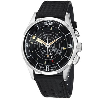 Vulcain Men's 'Nautical Heritage' Black Dial Black Leather Strap Watch
