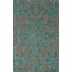 nuLOOM Handmade Marrakesh Grey Faux Silk/ Wool Rug (7'6 x 9'6)