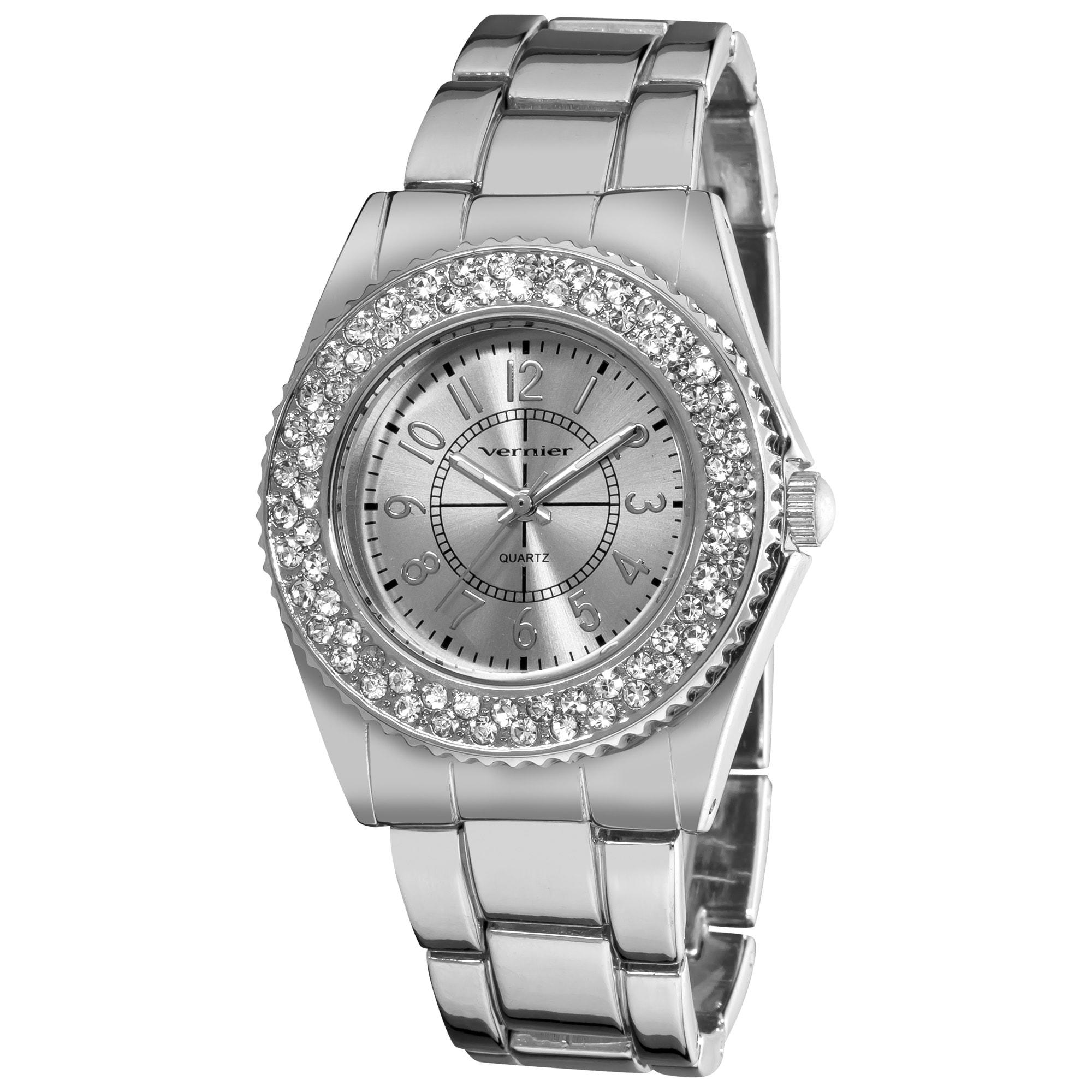 Vernier Women's Fashion Crystal Stone Bezel Bracelet Quartz Watch