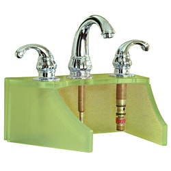 Tempered Glass Frosted Metallic Gold Faucet Stand