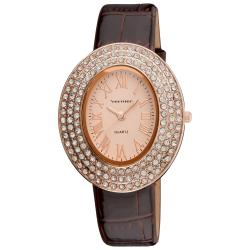 Vernier Women's Midsized Rose Oval Sparkle Watch