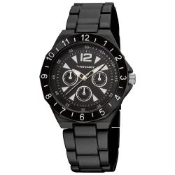 Vernier Women's Black Sports Faux Chrono Bracelet Watch